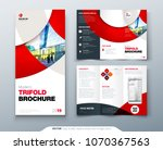 tri fold brochure design with... | Shutterstock .eps vector #1070367563