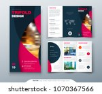 tri fold brochure design with... | Shutterstock .eps vector #1070367566