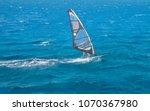 windsurfer on a board under a... | Shutterstock . vector #1070367980