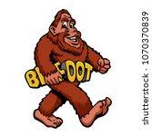Stock photo walking bigfoot cartoon 1070370839