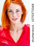 beautiful redhead freckled... | Shutterstock . vector #1070373368