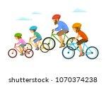 cute cheerful cartoon active... | Shutterstock .eps vector #1070374238