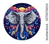 illustration of an elephant in... | Shutterstock .eps vector #1070376014