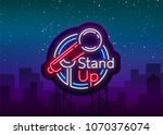 stand up comedy show is a neon...   Shutterstock .eps vector #1070376074