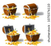 set old pirate chests full of... | Shutterstock .eps vector #1070376110