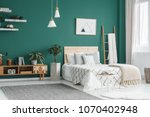 bed between ladder and plant in ... | Shutterstock . vector #1070402948