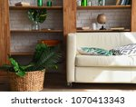white leather sofa in a... | Shutterstock . vector #1070413343