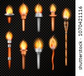 torch realistic set with... | Shutterstock .eps vector #1070421116