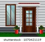 entrance doors facade realistic ... | Shutterstock .eps vector #1070421119