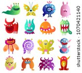 funny monsters big colorful... | Shutterstock .eps vector #1070421140