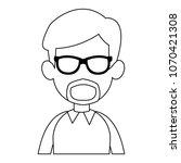young man faceless cartoon on... | Shutterstock .eps vector #1070421308