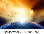 Scientific background - planet Earth and Moon in cloudy red space. Elements of this image furnished by NASA - stock photo