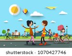 people in city park. vector... | Shutterstock .eps vector #1070427746