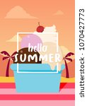 hello summer banner with ice... | Shutterstock .eps vector #1070427773