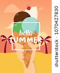 hello summer banner with ice... | Shutterstock .eps vector #1070427830