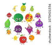smiling fruit icons set.... | Shutterstock .eps vector #1070431556