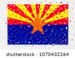 Small photo of Flag of American State Arizona behind a glass covered with rain drops. Patriots day, memorial weekend, veterans day, presidents day, independence day background.