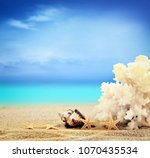 the view on sandy beach with... | Shutterstock . vector #1070435534
