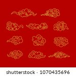 vector golden tibetan clouds ... | Shutterstock .eps vector #1070435696