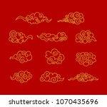 vector golden tibetan clouds ... | Shutterstock .eps vector #1070435696