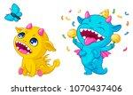 dinosaurs monsters cartoon... | Shutterstock .eps vector #1070437406