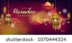 ramadan greetings background ... | Shutterstock .eps vector #1070444324