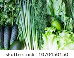 green vegetables and fruits... | Shutterstock . vector #1070450150