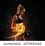 attractive young blond woman... | Shutterstock . vector #1070452463
