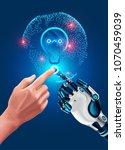 human hand touches robot hand.... | Shutterstock . vector #1070459039