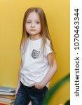 model kids.  little girl is... | Shutterstock . vector #1070463344
