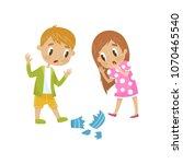 cute little girl and boy broken ...   Shutterstock .eps vector #1070465540