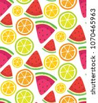pattern with watermelon and... | Shutterstock .eps vector #1070465963