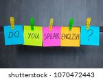 notes with words do you speak... | Shutterstock . vector #1070472443