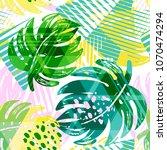 seamless summer tropical... | Shutterstock .eps vector #1070474294