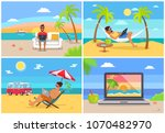 freelance work and summer rest... | Shutterstock .eps vector #1070482970