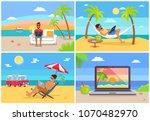 freelance work and summer rest... | Shutterstock .eps vector #1070482970