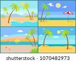 seascape and palms collection ... | Shutterstock .eps vector #1070482973