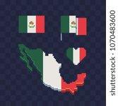 mexico flag set in heart shape... | Shutterstock .eps vector #1070483600