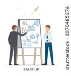 start up and rocket launched ... | Shutterstock .eps vector #1070485376