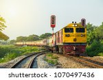 procession train led by yellow... | Shutterstock . vector #1070497436