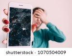 broken glass screen smartphone... | Shutterstock . vector #1070504009