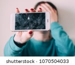 broken glass screen smartphone... | Shutterstock . vector #1070504033