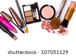 makeup brush and cosmetics  on... | Shutterstock . vector #107051129