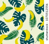 banana with tropical leaf... | Shutterstock .eps vector #1070512556