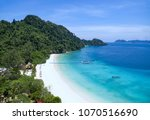 beautiful white sand beach of ... | Shutterstock . vector #1070516690