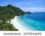 beautiful white sand beach of ... | Shutterstock . vector #1070516690