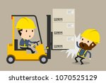 collision during forklift... | Shutterstock .eps vector #1070525129