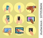 users hands on keyboard... | Shutterstock .eps vector #1070528606