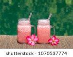 grapefruit pink shake or...   Shutterstock . vector #1070537774