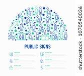 public signs concept in half... | Shutterstock .eps vector #1070540036